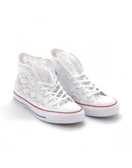Sneaker donna in pizzo bianco Converse All Stars CT AS Hi Crochet 549310C WHITE