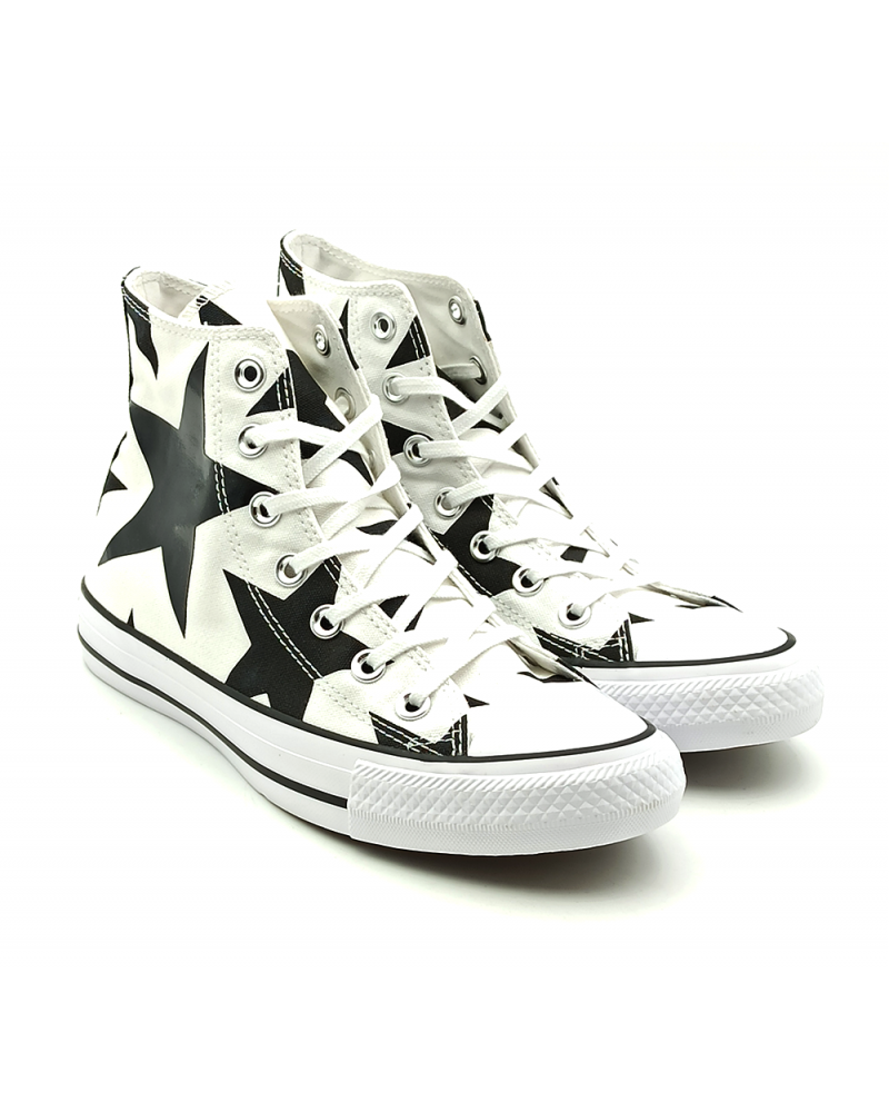 Sneaker donna in canvas bianco/nero stelle Converse all star Chuck taylor high CT AS Hi Canvas Print 156812C White/Black Big